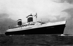 SS United States at sea, 1950s. Photo: Public Domain (John Oxley Library, State Library of Queensland)