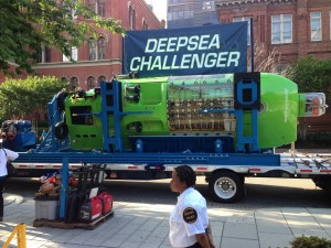 Deep Sea Challenger making its way through D.C. city streets to National Geographic Society building earlier this week. It will stay for two days before heading off to Woods Hole  Oceanographic Institution in Massachusetts. (Photo: Washington Post)