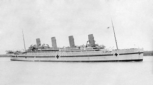 HMHS Britannic seen during World War I. Image:public domain