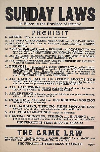 Ontario Sunday Laws 1911 Photo:Public Domain