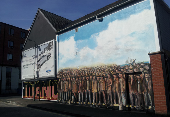 """Titanic mural on Donegall Road – completed by members of Sandy Row Community Forum and local artisit Ed Reynolds as part of Belfast City Council's Titanic community engagement."" Photo: Inside Ireland.ie"