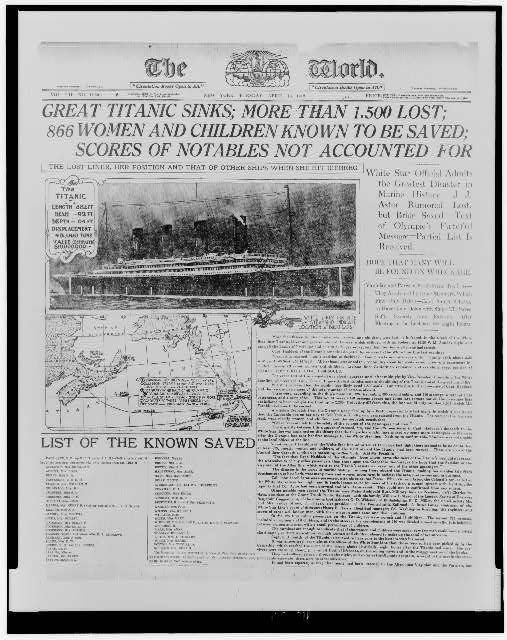 Front Page, New York World, 16 April 1912 Photo:Public Domain (U.S.Library of Congress, digital id# cph 3c16257)