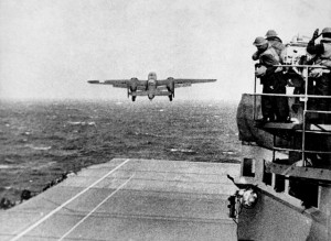 "A U.S. Army Air Forces North American B-25B Mitchell bomber takes off from the aircraft carrier USS Hornet (CV-8) during the ""Doolittle Raid"". Image:Public Domain(National Archives and Records Administration,ARC Identifier 520603)"