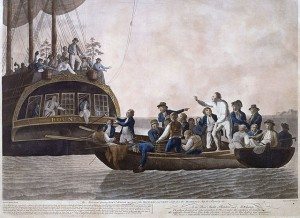 Bligh and other officers and crew put adrift by HMS Bounty mutineers on 29 April 1789. Painting: Robert Dodd (1748-1815)  Public Domain (National Maritime Museum, London, UK)