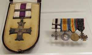 War Decorations awarded to Father Francis Browne for his service in World War I. The decorations shown are, from left to right, the Military Cross and Bar, and miniatures of the Military Cross and Bar, the British War Medal, the Victory Medal (US) and finally the Croix de Guerre (France). Photo:Bjørn Christian Tørrissen(Wikipedia)