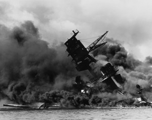 The USS Arizona (BB-39) burning after the Japanese attack on Pearl Harbor, 7 December 1941 Image: Public Domain (National Archives and Records Administration,ARC Identifier#195617)