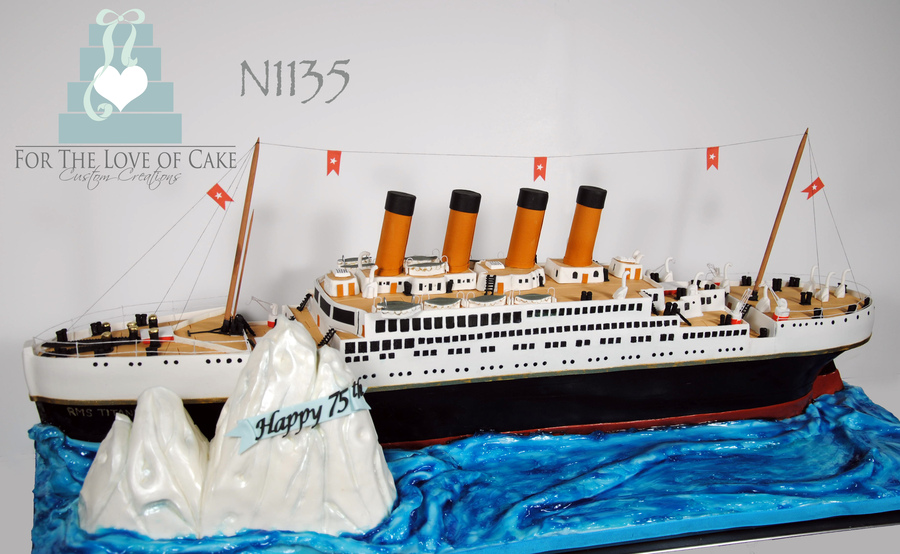 3 foot long Titanic cake was done for a 75th birthday celebration Source:Cakecentral.com