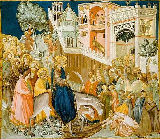 Jesus Entry Into Jerusalem by Pietro Lorenzetti(1320).  Fresco in the Basilica of San Francesco d'Assisi, Italy Public Domain