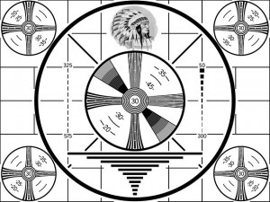 """Please Stand By"" Old Indian Head test pattern from RCA used from 1940's till color was used. Public Domain"