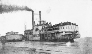 """Sultana"" at Helena, Arkansas, just prior to its explosion on April 27, 1865. Photo: Public Domain (U.S. Library of Congress, digital id#cph.3a48909)"