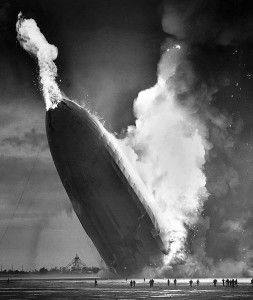 Airship Hindenburg crash in Lakehurst, New Jersey on May 6, 1937 Photo originally taken by Murray Becker, AP Public Domain