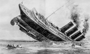 Engraving of Lusitania Sinking by Norman Wilkinson, The Illustrated London News, May 15, 1915 Public Domain(Wikimedia)