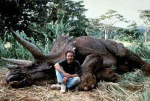 Steven Spielberg posing with triceratops animatronic in 1993 on set of Jurassic Park. It was originally posted as a gag by a Facebook user but taken as serious by a whole lot of people including noted author Joyce Carol Oates in 2015.