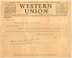 Western Union telegram informing Millsaps College beats Mississippi A&M (now MSU)in football, 19-13. Photo:Natalie Maynor via Wikipedia