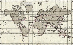 Telegraph Connections (Telegraphen Verbindungen), 1891 Stielers Hand-Atlas, Plate No. 5, Weltkarte in Mercator projection Public Domain (Wikipedia)