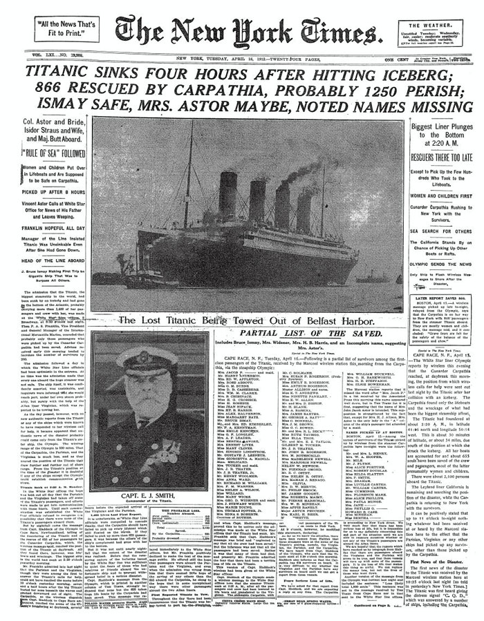 New York Times Front Page 16 April 1912 Public Domain (Wikimedia Commons)