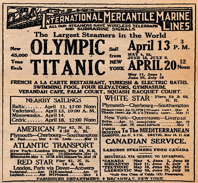 Titanic advertising from New York Times, 10 April 1912. Public Domain (Wikimedia)