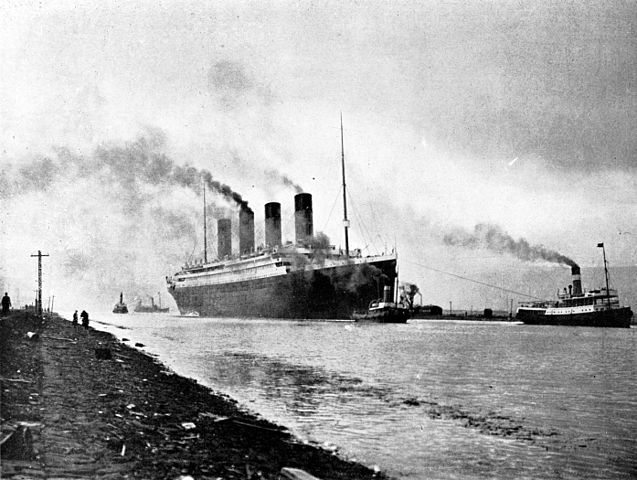 RMS Titanic beginning sea trials, April 2, 1912. Public Domain (National Archives and Records Administration,ARC Identifier#306 RG 306)
