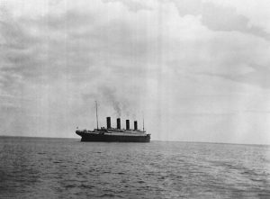 Titanic Leaving Queenstown 11 April 1912. Believed to be the last photograph of ship before it sank. Public Domain