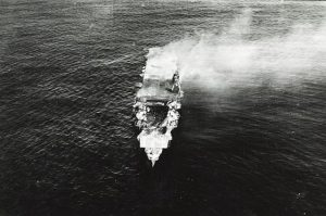 Japanese aircraft carrier Hiryu, photographed by a Yokosuka B4Y aircraft from the carrier Hosho shortly after sunrise on 5 June 1942.  Photo: Public Domain ( U.S. Navy National Museum of Naval Aviation)