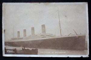 Postcard of the Titanic found in a book donated to Books for Amnesty, 103 Gloucester Rd, Bristol UK Source: Bristol Post Date:  20/07/2016 Photographer: Michael Lloyd/Freelance Reporter: Lewis Pennock Copyright: Local World